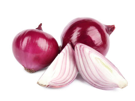 Fresh whole and cut red onions on white background Stockfoto
