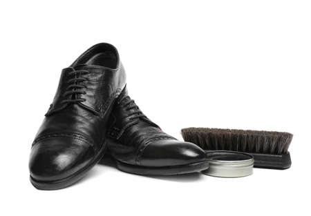 Stylish men's footwear and shoe care accessories on white background Zdjęcie Seryjne - 125166224