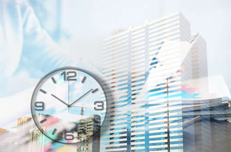 Multiple exposure of businesswoman in office, clock and buildings