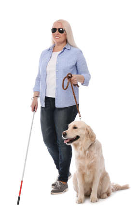 Blind person with long cane and guide dog on white background