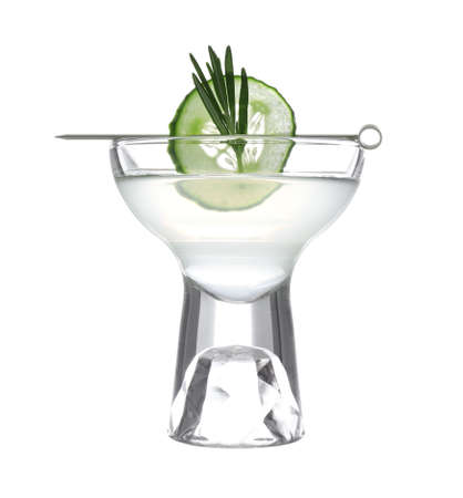 Glass of tasty martini with cucumber and rosemary on white background 스톡 콘텐츠