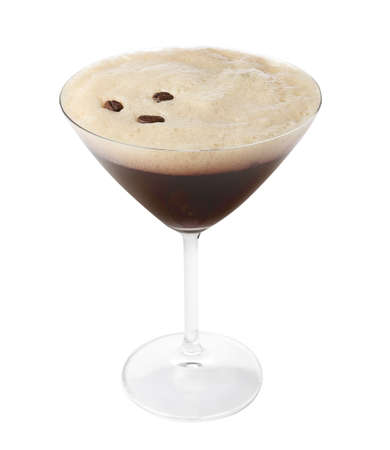 Glass of Espresso Martini with coffee beans on white background. Alcohol cocktail Stock Photo