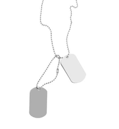 Metal military ID tags isolated on white
