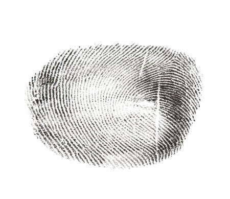 Black fingerprint made with ink on white background, top view Stockfoto