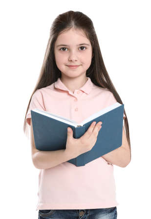 Cute little girl reading book on white background 写真素材