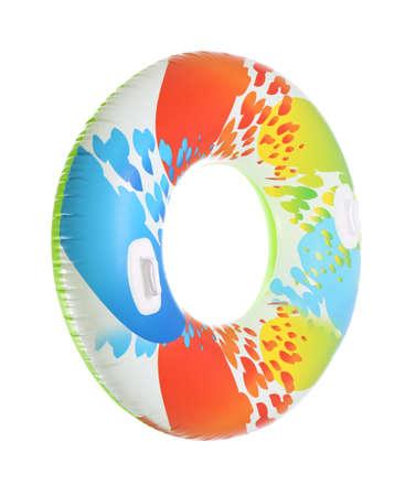 Kolorowy nadmuchiwany pierścionek z uchwytami na białym tle Zdjęcie Seryjne