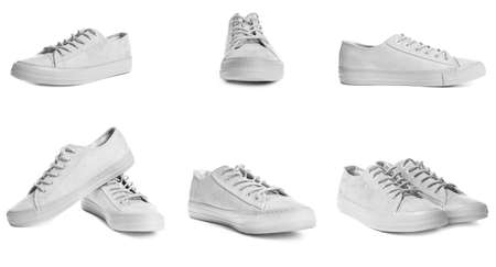 Set of stylish shoes on white background Foto de archivo