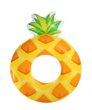 Bright inflatable pineapple ring isolated on white background