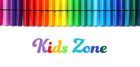 Many colorful markers on white background, top view. Kids zone