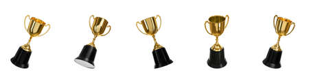 Set of shiny gold trophy cups on white background. Banner design Imagens