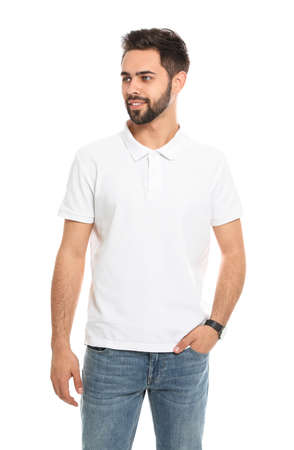 Young man in t-shirt on white background. Mock up for design Zdjęcie Seryjne
