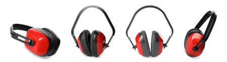 Set of protective headphones on white background. Banner design Reklamní fotografie