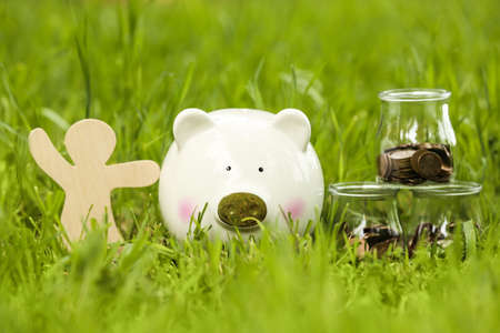 Cute piggy bank, wooden person and jars with coins on green grass in park