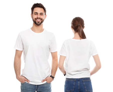 Young people in t-shirts on white background. Mock up for design Фото со стока