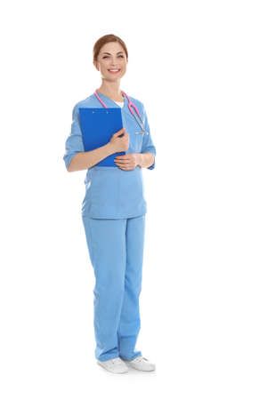 Full length portrait of medical doctor with clipboard and stethoscope isolated on white