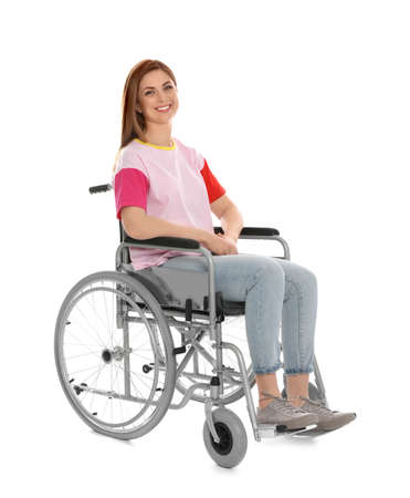 Beautiful woman in wheelchair isolated on white Imagens