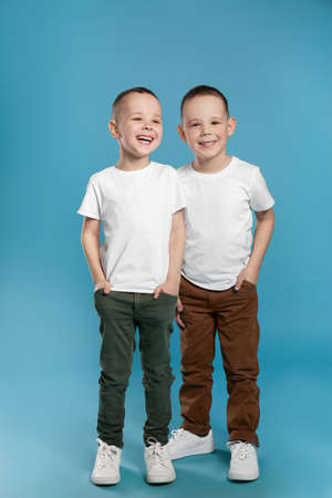 Full length portrait of cute twin brothers on color background