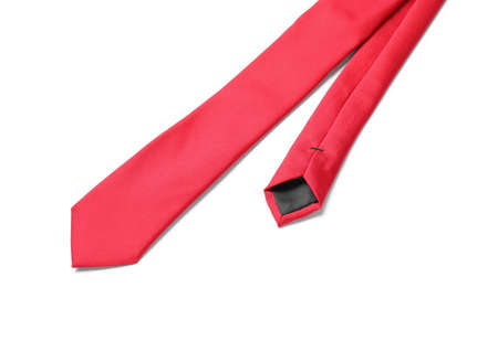 Classic red male necktie isolated on white