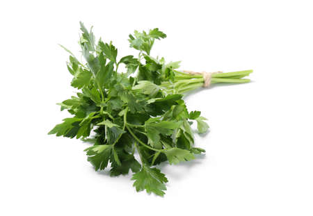 Bunch of fresh green organic parsley on white background Stock Photo