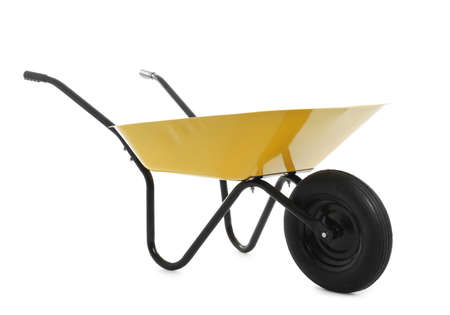 Color wheelbarrow isolated on white. Gardening tool Archivio Fotografico