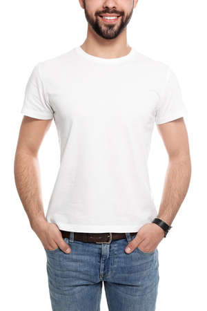 Young man in t-shirt on white background, closeup. Mock up for design
