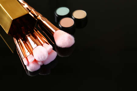 Set of makeup brushes and cosmetic on dark background, space for text