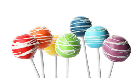 Set of delicious colorful cake pops on white background 免版税图像