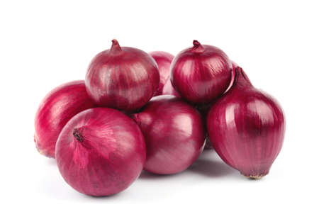 Fresh whole red onions on white background