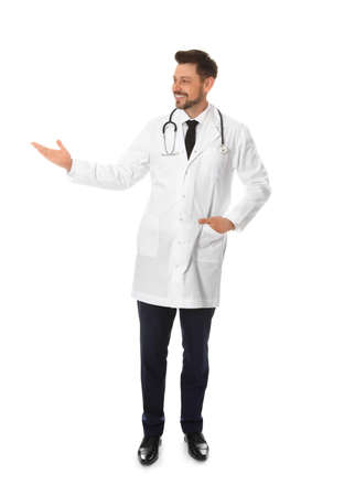 Full length portrait of male doctor isolated on white. Medical staff