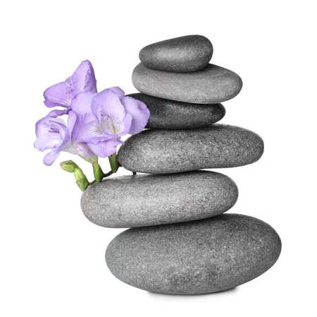 Stapel von grauen Spa-Steinen und frischen Blumen isoliert auf weiß