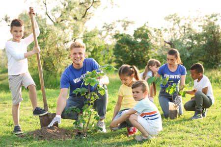 Kids planting trees with volunteers in park Stok Fotoğraf