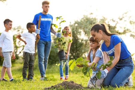 Dzieci sadzą drzewa z wolontariuszami w parku