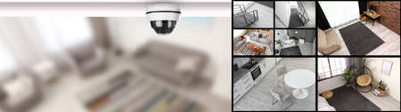 Modern CCTV camera on blurred background and security monitors
