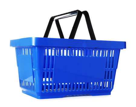 Color plastic shopping basket on white background