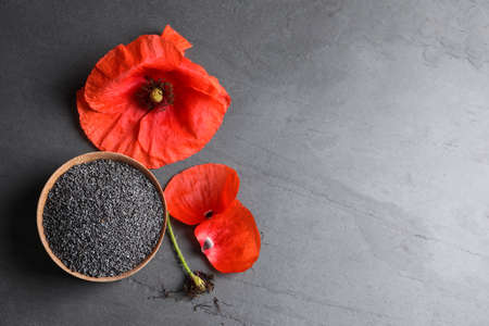 Wooden bowl of poppy seeds and flower on grey table, flat lay with space for text