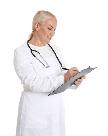 Portrait of female doctor with clipboard isolated on white. Medical staff Stock Photo