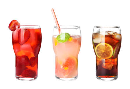 Set of glasses with different refreshing drinks on white background Banque d'images