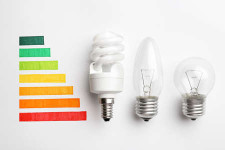 Flat lay composition with colorful chart and lamp bulbs on white background. Energy efficiency concept