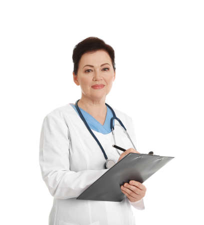 Portrait of female doctor with clipboard isolated on white. Medical staff 免版税图像
