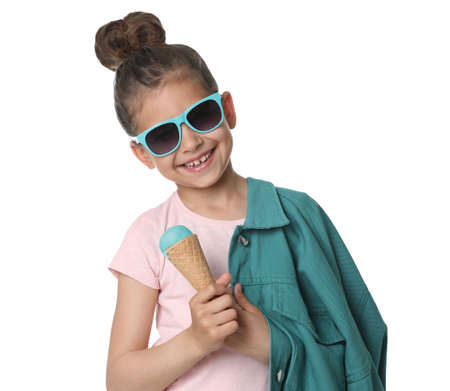 Adorable little girl with delicious ice cream on white background