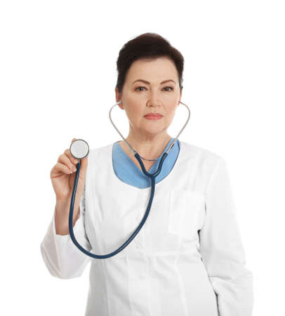 Portrait of female doctor with stethoscope isolated on white. Medical staff 免版税图像