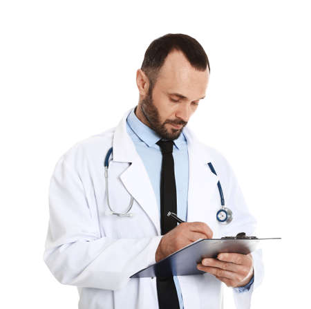 Portrait of male doctor with clipboard isolated on white. Medical staff