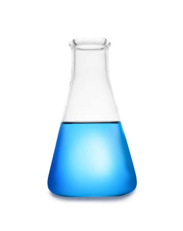Conical flask with color liquid isolated on white. Chemistry glassware