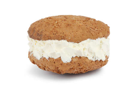 Sweet delicious ice cream cookie sandwich on white background
