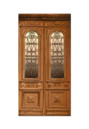 Closed vintage wooden door on white background 版權商用圖片