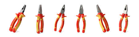 Set of pliers on white background. Construction tools
