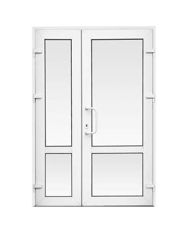 Moderne PVC-Außentür auf weißem Hintergrund