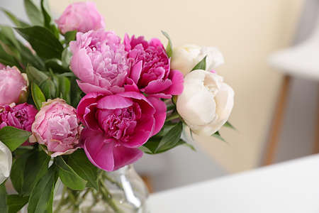 Vase with bouquet of beautiful peonies on table in room, space for text