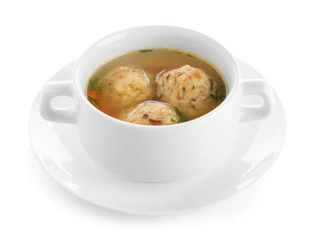 Bowl of Jewish matzoh balls soup isolated on white background