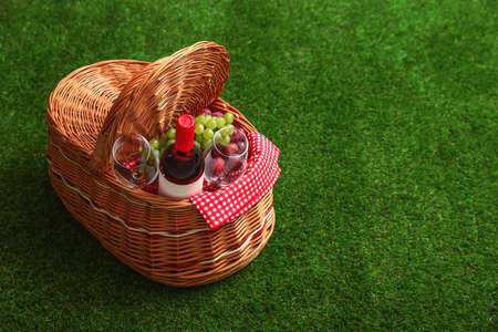 Picnic basket with wine and grapes on grass, space for text